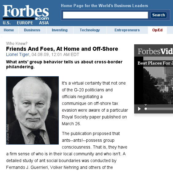 Screenshot of article in Forbes, referring to Guerrieri et al. 2009